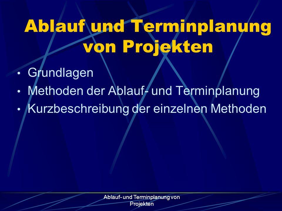 Ablauf- und Terminplanung von Projekten Ablauf und Terminplanung von Projekten Grundlagen Methoden der Ablauf- und Terminplanung Kurzbeschreibung der
