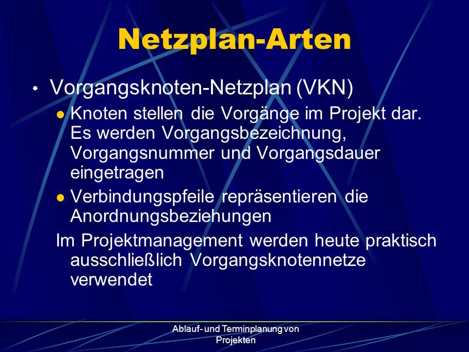 Ablauf- und Terminplanung von Projekten Netzplan-Arten Vorgangsknoten-Netzplan (VKN) Knoten stellen die Vorgänge im Projekt dar. Es werden Vorgangsbez