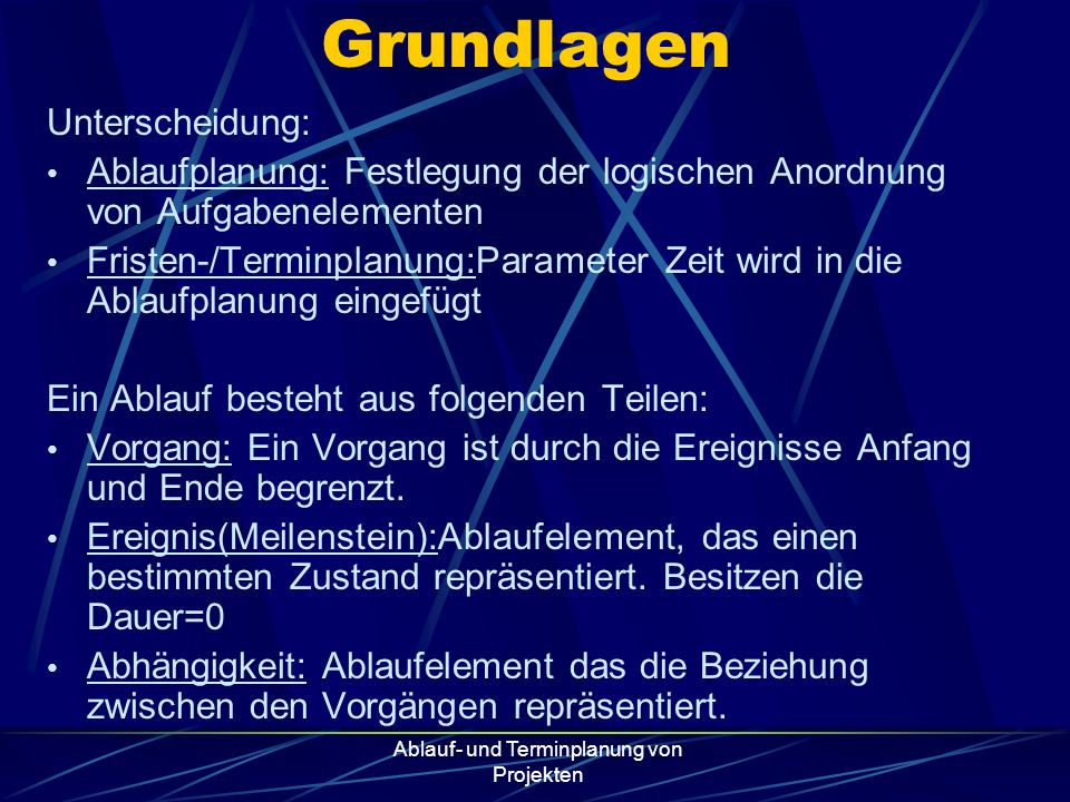 Ablauf- und Terminplanung von Projekten Vernetzter Balkenplan