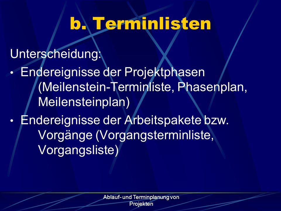 Ablauf- und Terminplanung von Projekten b. Terminlisten Unterscheidung: Endereignisse der Projektphasen (Meilenstein-Terminliste, Phasenplan, Meilenst