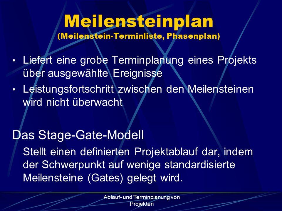 Ablauf- und Terminplanung von Projekten Meilensteinplan (Meilenstein-Terminliste, Phasenplan) Liefert eine grobe Terminplanung eines Projekts über aus