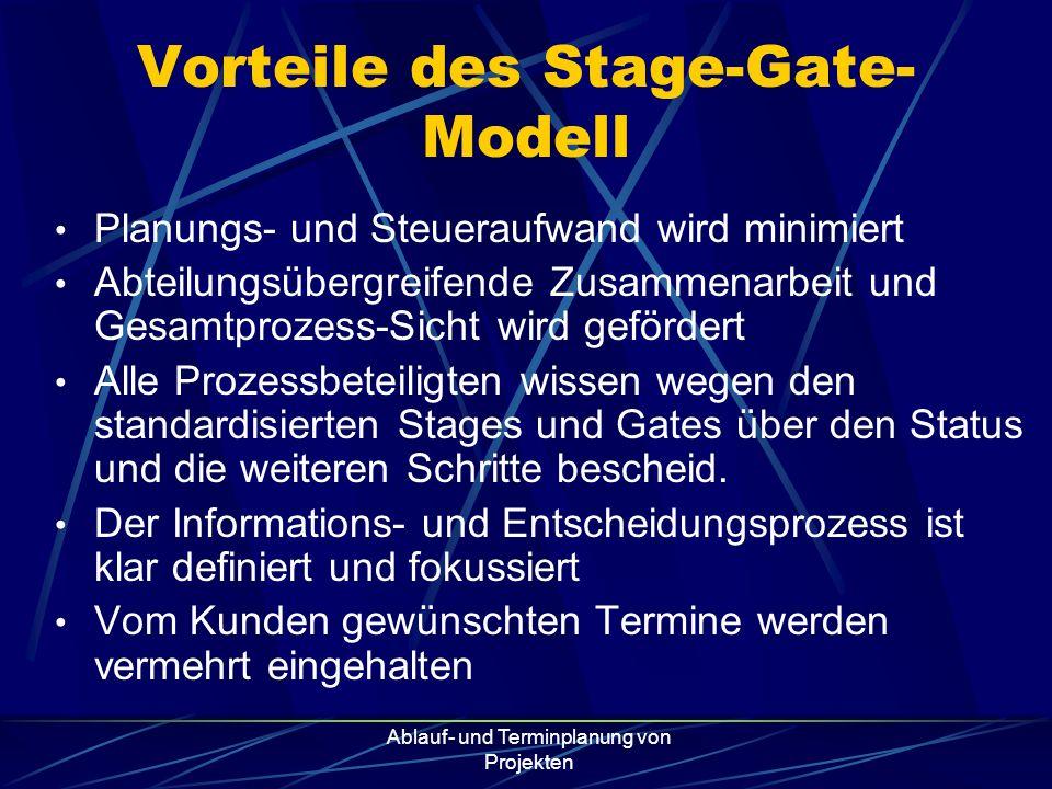 Ablauf- und Terminplanung von Projekten Vorteile des Stage-Gate- Modell Planungs- und Steueraufwand wird minimiert Abteilungsübergreifende Zusammenarb