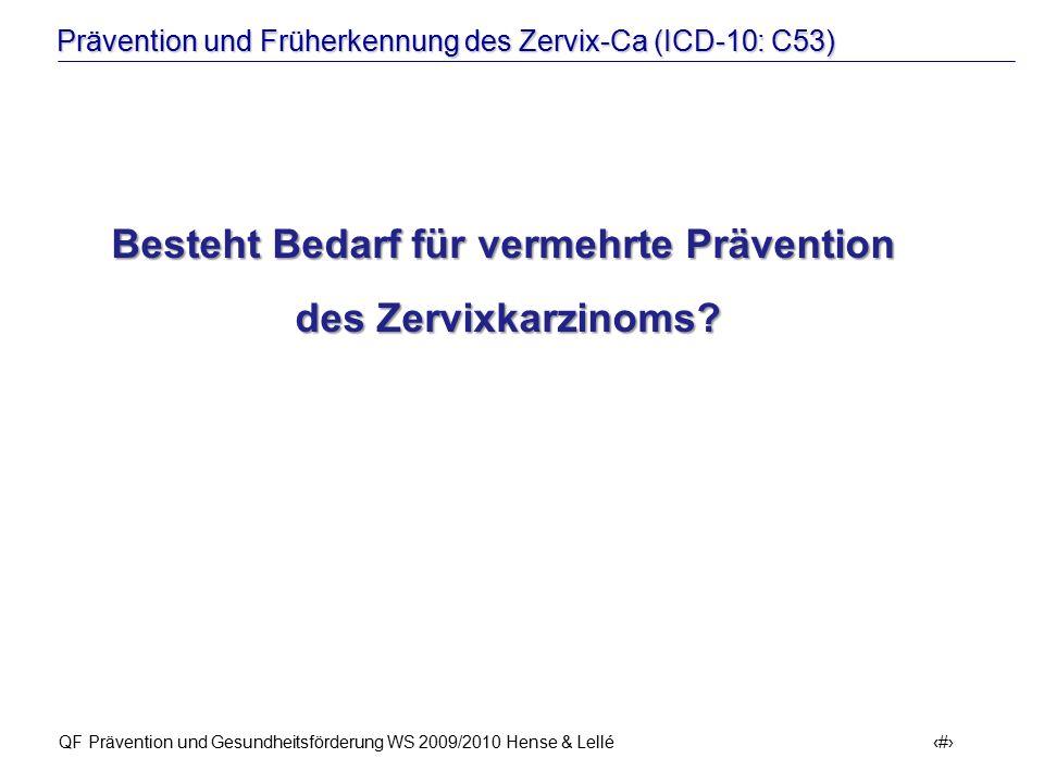 Prävention und Früherkennung des Zervix-Ca (ICD-10: C53) QF Prävention und Gesundheitsförderung WS 2009/2010 Hense & Lellé 12 Besteht Bedarf für verme