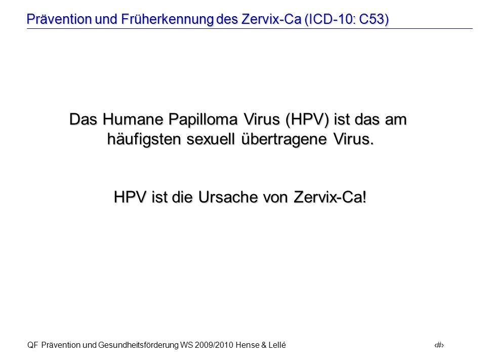 Prävention und Früherkennung des Zervix-Ca (ICD-10: C53) QF Prävention und Gesundheitsförderung WS 2009/2010 Hense & Lellé 16 Das Humane Papilloma Vir