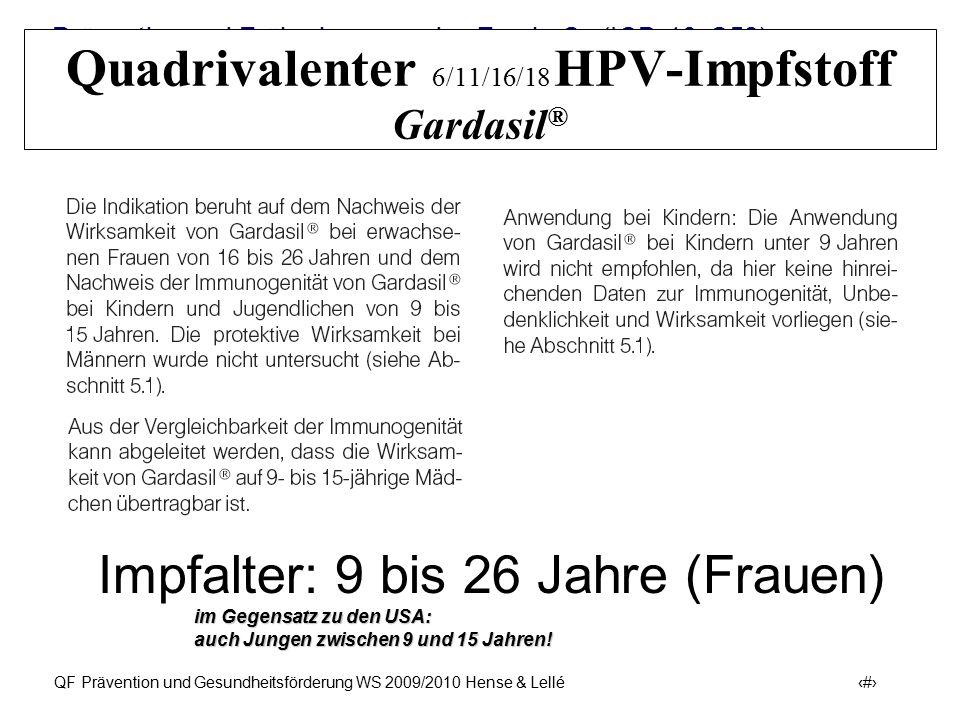 Prävention und Früherkennung des Zervix-Ca (ICD-10: C53) QF Prävention und Gesundheitsförderung WS 2009/2010 Hense & Lellé 29 Quadrivalenter 6/11/16/1