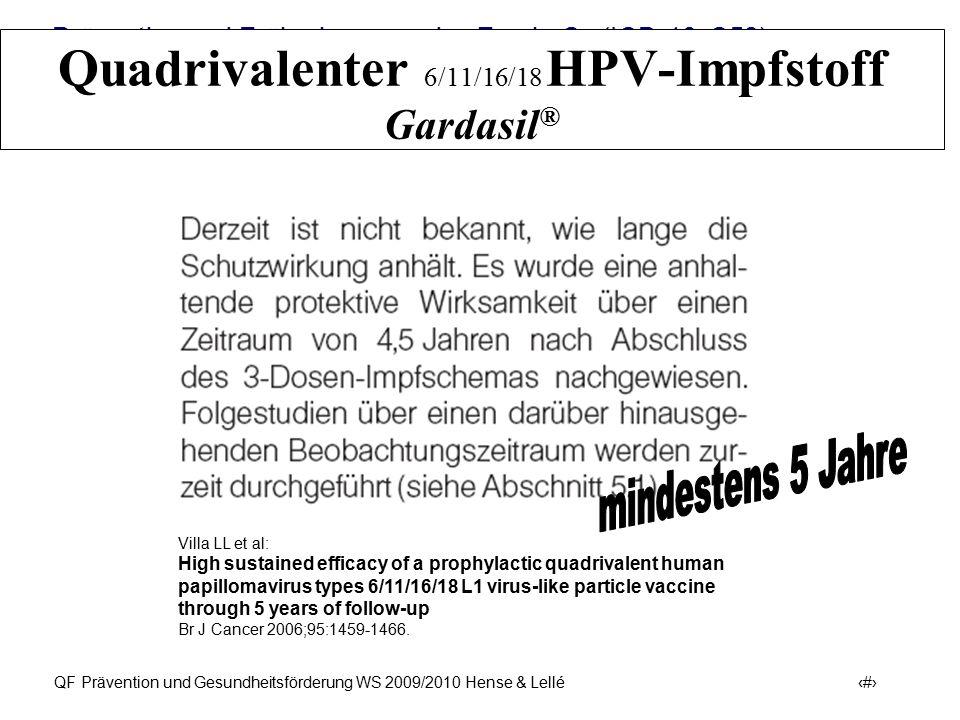 Prävention und Früherkennung des Zervix-Ca (ICD-10: C53) QF Prävention und Gesundheitsförderung WS 2009/2010 Hense & Lellé 30 Quadrivalenter 6/11/16/1