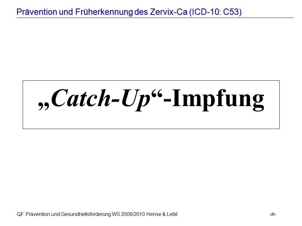 """Prävention und Früherkennung des Zervix-Ca (ICD-10: C53) QF Prävention und Gesundheitsförderung WS 2009/2010 Hense & Lellé 35 """"Catch-Up""""-Impfung"""
