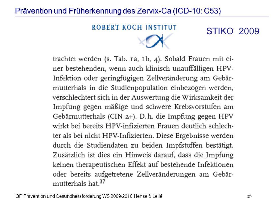 Prävention und Früherkennung des Zervix-Ca (ICD-10: C53) QF Prävention und Gesundheitsförderung WS 2009/2010 Hense & Lellé 36 STIKO 2009