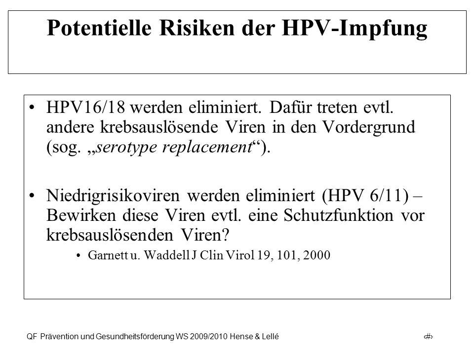 Prävention und Früherkennung des Zervix-Ca (ICD-10: C53) QF Prävention und Gesundheitsförderung WS 2009/2010 Hense & Lellé 43 Potentielle Risiken der