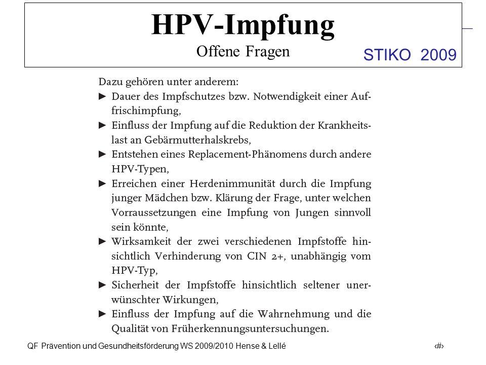 Prävention und Früherkennung des Zervix-Ca (ICD-10: C53) QF Prävention und Gesundheitsförderung WS 2009/2010 Hense & Lellé 45 HPV-Impfung Offene Frage