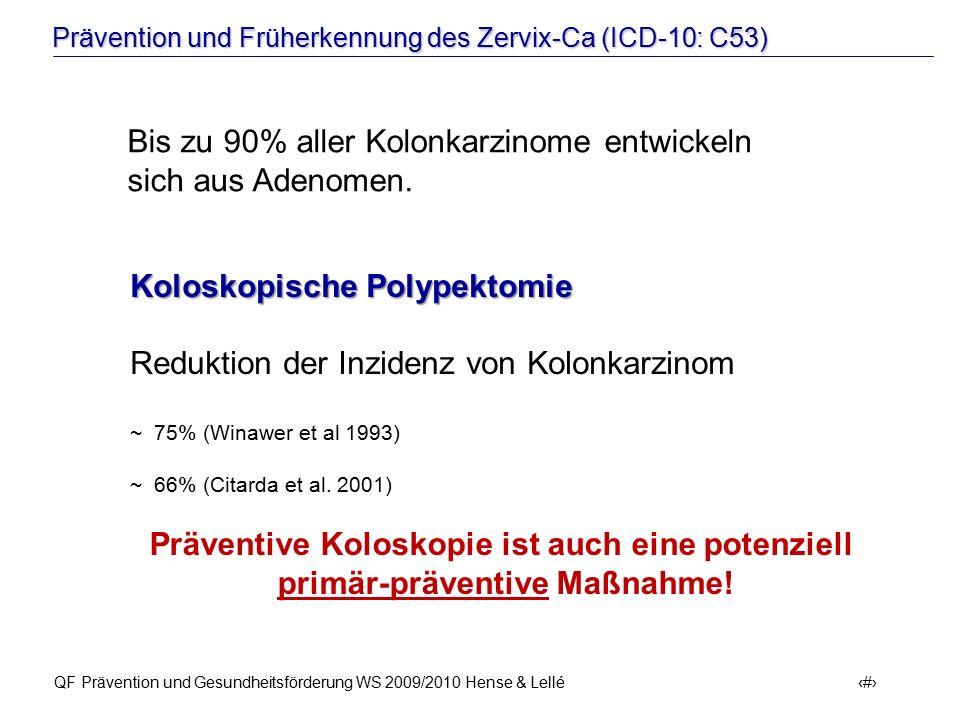 Prävention und Früherkennung des Zervix-Ca (ICD-10: C53) QF Prävention und Gesundheitsförderung WS 2009/2010 Hense & Lellé 5 Koloskopische Polypektomi