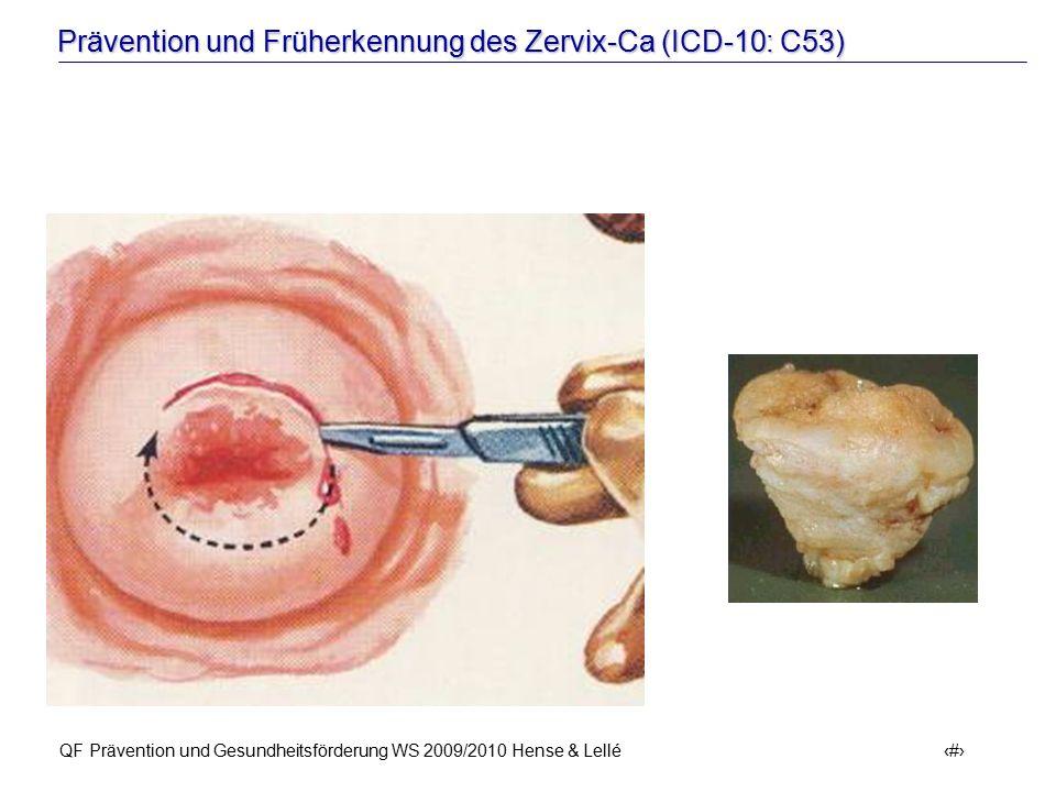 Prävention und Früherkennung des Zervix-Ca (ICD-10: C53) QF Prävention und Gesundheitsförderung WS 2009/2010 Hense & Lellé 53 Konisation