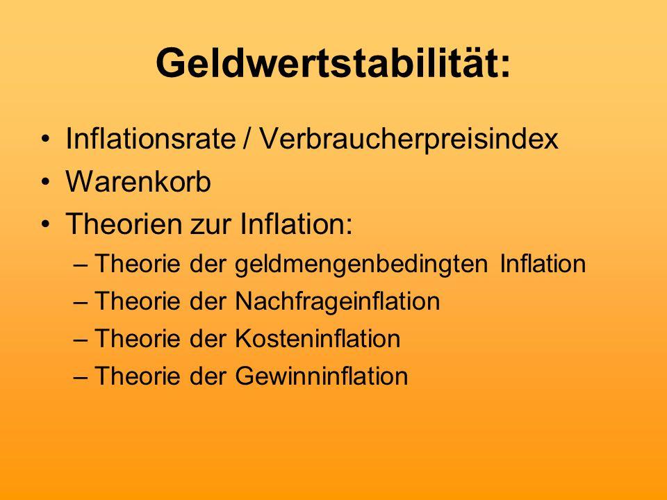 Geldwertstabilität: Inflationsrate / Verbraucherpreisindex Warenkorb Theorien zur Inflation: –Theorie der geldmengenbedingten Inflation –Theorie der N