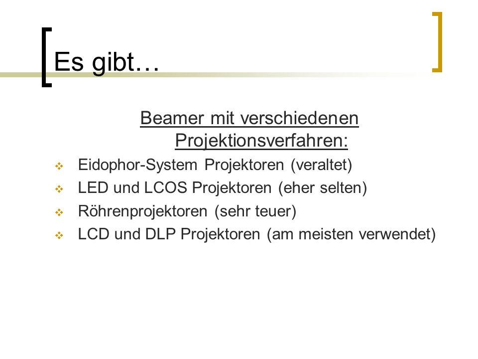 Es gibt… Beamer mit verschiedenen Projektionsverfahren:  Eidophor-System Projektoren (veraltet)  LED und LCOS Projektoren (eher selten)  Röhrenproj