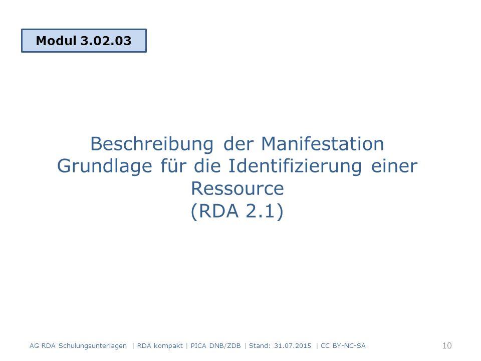 Beschreibung der Manifestation Grundlage für die Identifizierung einer Ressource (RDA 2.1) Modul 3.02.03 AG RDA Schulungsunterlagen | RDA kompakt | PICA DNB/ZDB | Stand: 31.07.2015 | CC BY-NC-SA 10