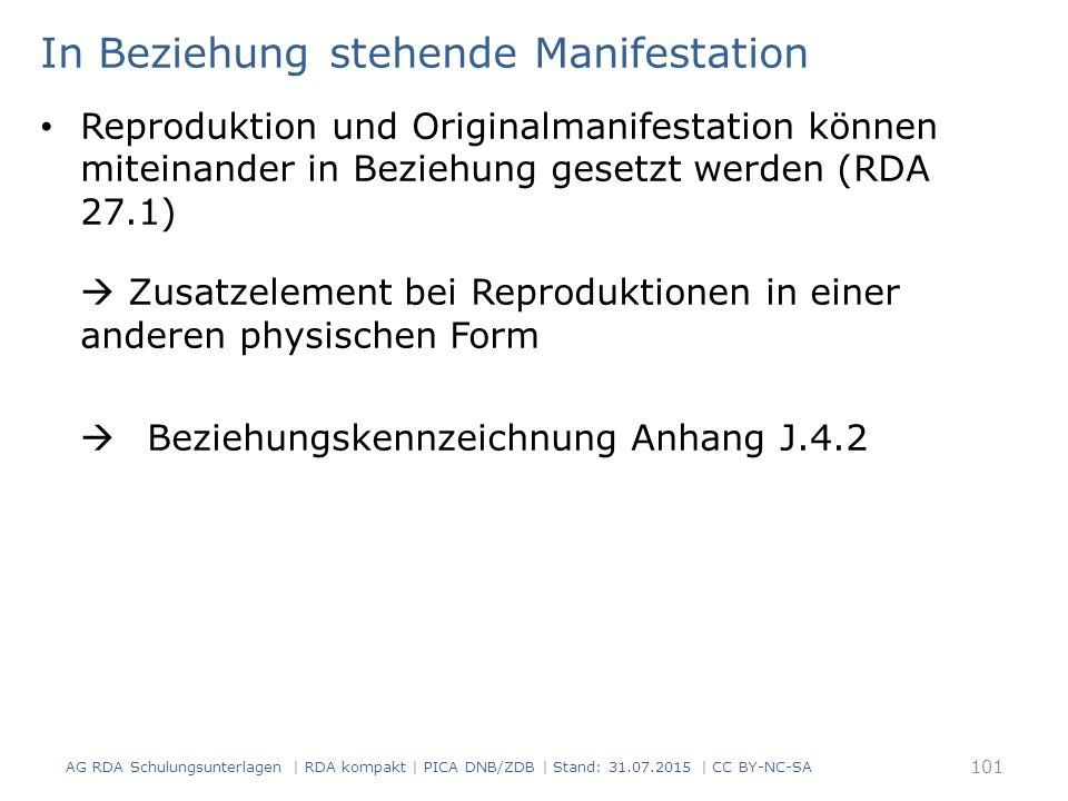 In Beziehung stehende Manifestation Reproduktion und Originalmanifestation können miteinander in Beziehung gesetzt werden (RDA 27.1)  Zusatzelement bei Reproduktionen in einer anderen physischen Form  Beziehungskennzeichnung Anhang J.4.2 AG RDA Schulungsunterlagen | RDA kompakt | PICA DNB/ZDB | Stand: 31.07.2015 | CC BY-NC-SA 101
