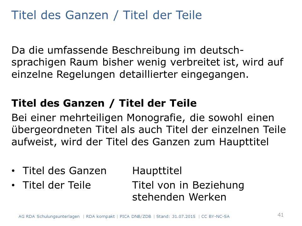 Titel des Ganzen / Titel der Teile Da die umfassende Beschreibung im deutsch- sprachigen Raum bisher wenig verbreitet ist, wird auf einzelne Regelungen detaillierter eingegangen.