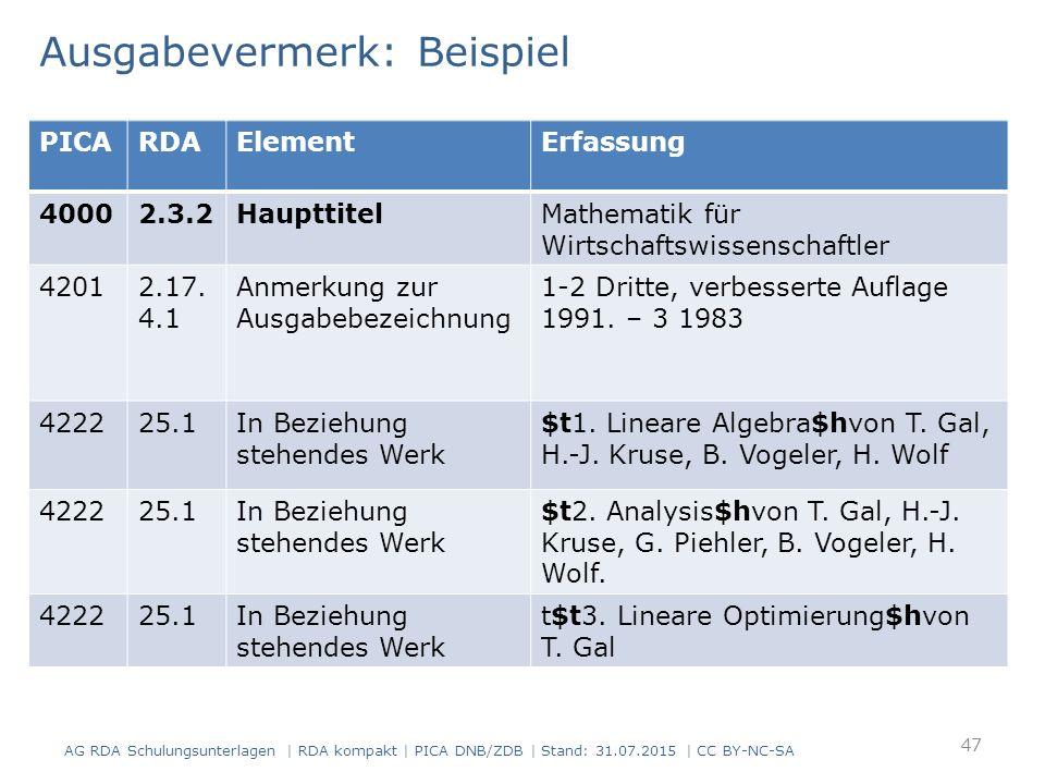 Ausgabevermerk: Beispiel AG RDA Schulungsunterlagen | RDA kompakt | PICA DNB/ZDB | Stand: 31.07.2015 | CC BY-NC-SA 47 PICARDAElementErfassung 40002.3.2HaupttitelMathematik für Wirtschaftswissenschaftler 42012.17.