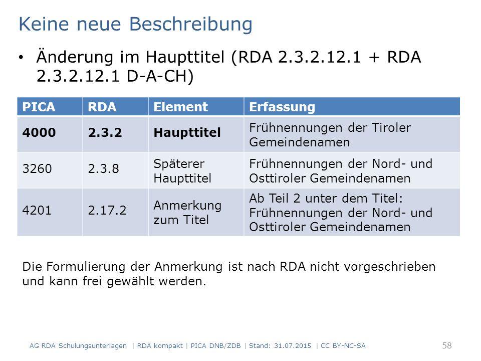 AG RDA Schulungsunterlagen | RDA kompakt | PICA DNB/ZDB | Stand: 31.07.2015 | CC BY-NC-SA 58 Keine neue Beschreibung Die Formulierung der Anmerkung ist nach RDA nicht vorgeschrieben und kann frei gewählt werden.