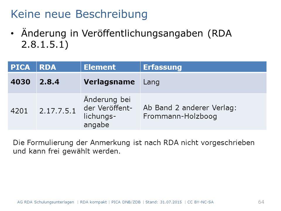 AG RDA Schulungsunterlagen | RDA kompakt | PICA DNB/ZDB | Stand: 31.07.2015 | CC BY-NC-SA 64 Keine neue Beschreibung Änderung in Veröffentlichungsangaben (RDA 2.8.1.5.1) Die Formulierung der Anmerkung ist nach RDA nicht vorgeschrieben und kann frei gewählt werden.
