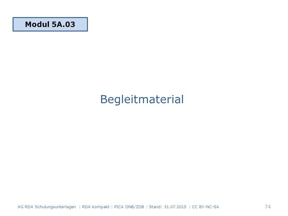 Begleitmaterial Modul 5A.03 AG RDA Schulungsunterlagen | RDA kompakt | PICA DNB/ZDB | Stand: 31.07.2015 | CC BY-NC-SA 74