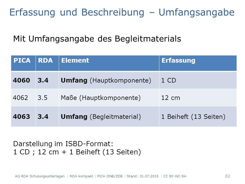 Erfassung und Beschreibung – Umfangsangabe Mit Umfangsangabe des Begleitmaterials Darstellung im ISBD-Format: 1 CD ; 12 cm + 1 Beiheft (13 Seiten) 82 AG RDA Schulungsunterlagen | RDA kompakt | PICA DNB/ZDB | Stand: 31.07.2015 | CC BY-NC-SA PICARDAElementErfassung 40603.4Umfang (Hauptkomponente)1 CD 40623.5Maße (Hauptkomponente)12 cm 40633.4Umfang (Begleitmaterial)1 Beiheft (13 Seiten)