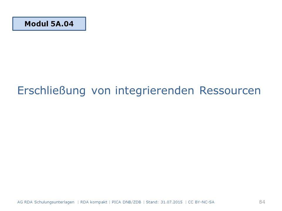 Erschließung von integrierenden Ressourcen Modul 5A.04 84 AG RDA Schulungsunterlagen | RDA kompakt | PICA DNB/ZDB | Stand: 31.07.2015 | CC BY-NC-SA