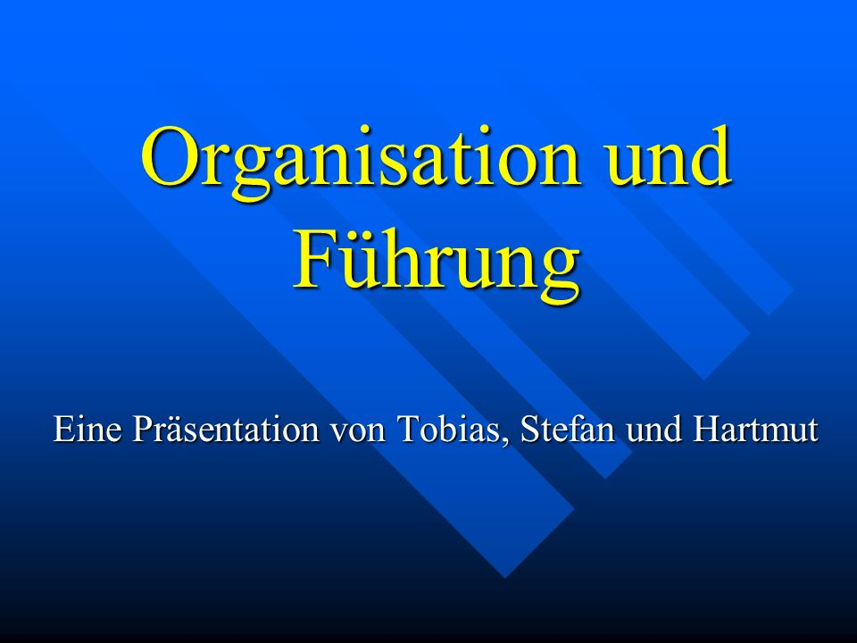 Organisation und Führung Eine Präsentation von Tobias, Stefan und Hartmut