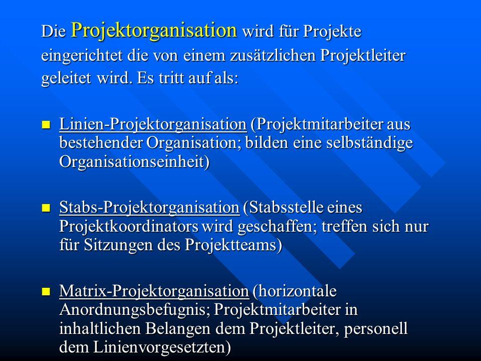 Die Projektorganisation wird für Projekte eingerichtet die von einem zusätzlichen Projektleiter geleitet wird.