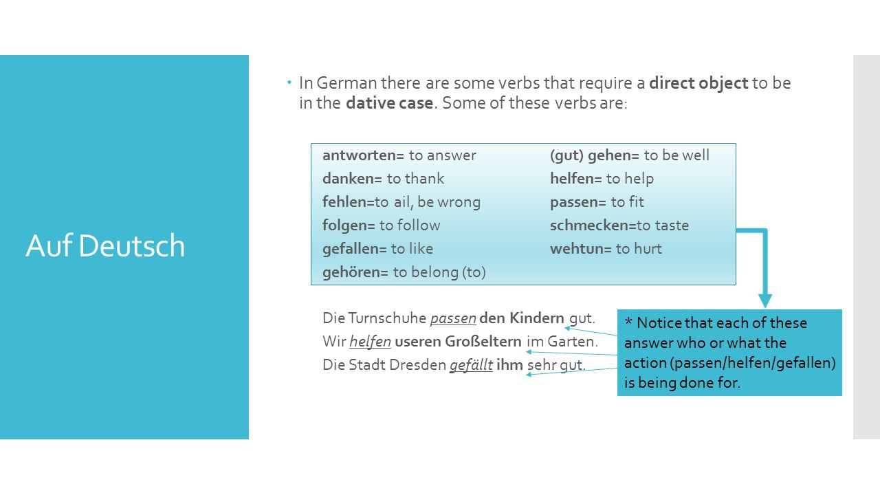 Auf Deutsch  In German there are some verbs that require a direct object to be in the dative case.