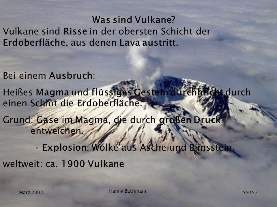 Arten von Vulkanausbrüchen explosive Ausbrüche: Auslöser: Überhitzung von Grund- bzw.
