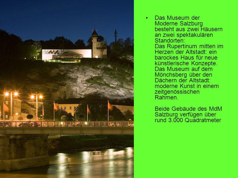 Das Museum der Moderne Salzburg besteht aus zwei Häusern an zwei spektakulären Standorten: Das Rupertinum mitten im Herzen der Altstadt: ein barockes Haus für neue künstlerische Konzepte.