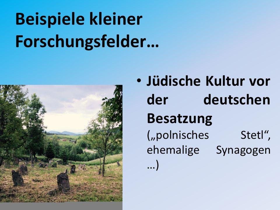 """Beispiele kleiner Forschungsfelder… Jüdische Kultur vor der deutschen Besatzung (""""polnisches Stetl , ehemalige Synagogen …)"""