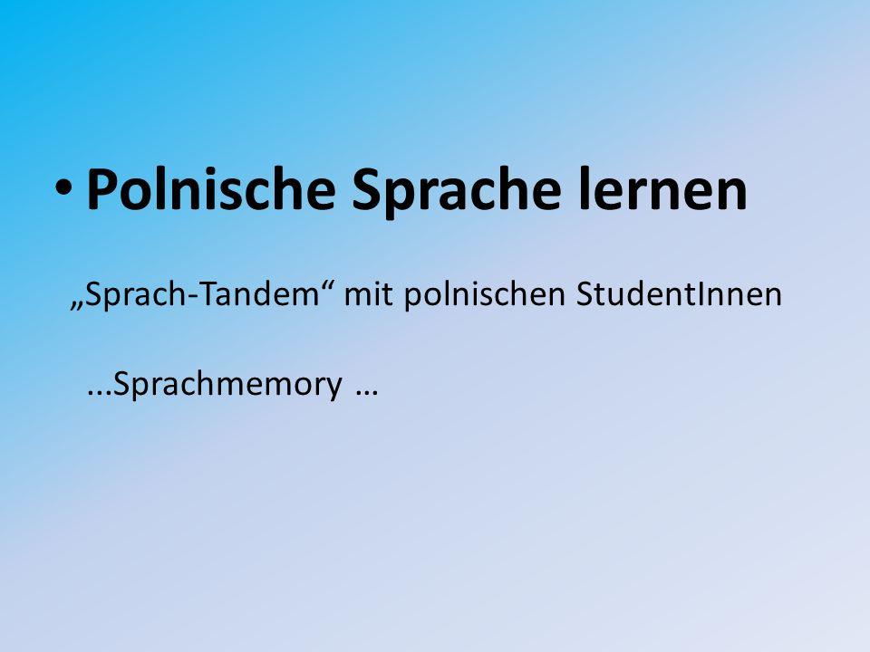 """Polnische Sprache lernen """"Sprach-Tandem mit polnischen StudentInnen...Sprachmemory …"""