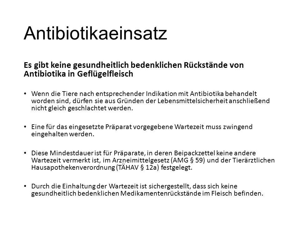 Antibiotikaeinsatz Es gibt keine gesundheitlich bedenklichen Rückstände von Antibiotika in Geflügelfleisch Wenn die Tiere nach entsprechender Indikation mit Antibiotika behandelt worden sind, dürfen sie aus Gründen der Lebensmittelsicherheit anschließend nicht gleich geschlachtet werden.