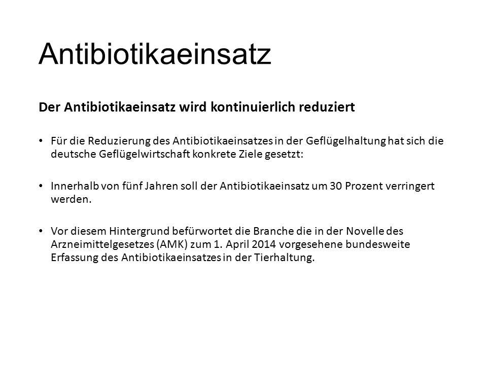Antibiotikaeinsatz Der Antibiotikaeinsatz wird kontinuierlich reduziert Für die Reduzierung des Antibiotikaeinsatzes in der Geflügelhaltung hat sich die deutsche Geflügelwirtschaft konkrete Ziele gesetzt: Innerhalb von fünf Jahren soll der Antibiotikaeinsatz um 30 Prozent verringert werden.