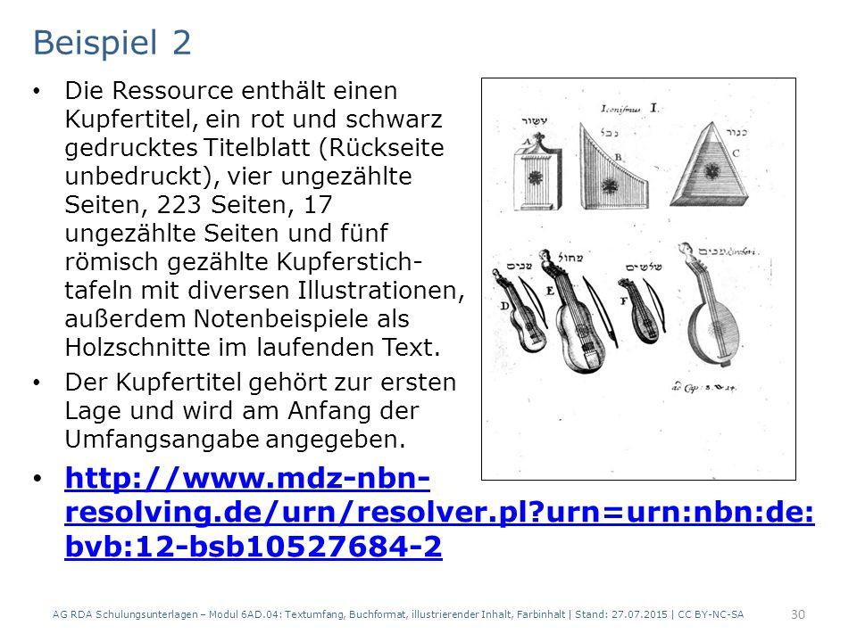 Beispiel 2 Die Ressource enthält einen Kupfertitel, ein rot und schwarz gedrucktes Titelblatt (Rückseite unbedruckt), vier ungezählte Seiten, 223 Seit