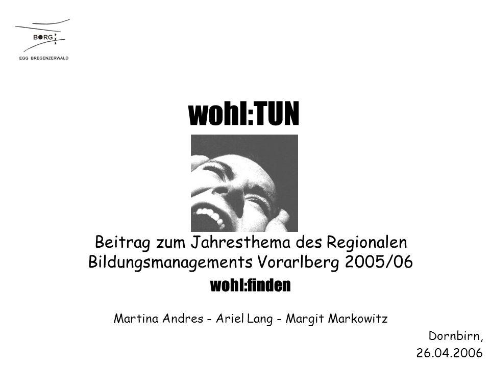 Dornbirn, 26.04.2006 wohl:TUN Martina Andres - Ariel Lang - Margit Markowitz Beitrag zum Jahresthema des Regionalen Bildungsmanagements Vorarlberg 2005/06 wohl:finden