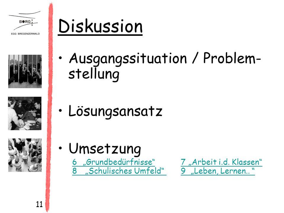 """11 Diskussion Ausgangssituation / Problem- stellung Lösungsansatz Umsetzung 6 """"Grundbedürfnisse 7""""Arbeit i.d."""