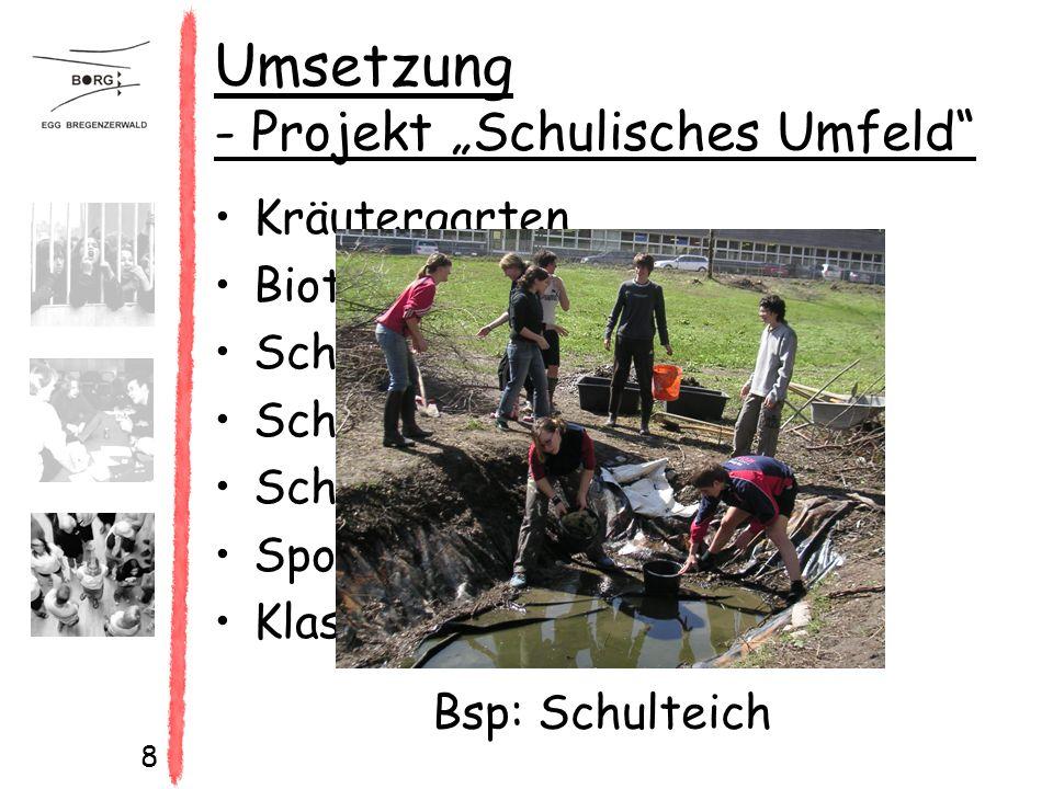 """8 Umsetzung - Projekt """"Schulisches Umfeld Kräutergarten Biotop Schulteich Schulgebäude Schulhofgestaltung Sportanlagen Klassenraumgestaltung Bsp: Schulteich"""