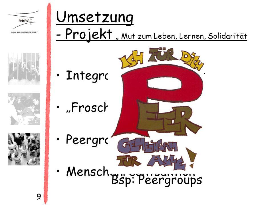 """9 Umsetzung - Projekt """" Mut zum Leben, Lernen, Solidarität und konstruktive Konfliktbewältigung Integration durch Sport """"Froschteich Peergroups Menschenrechtsaktion Bsp: Peergroups"""