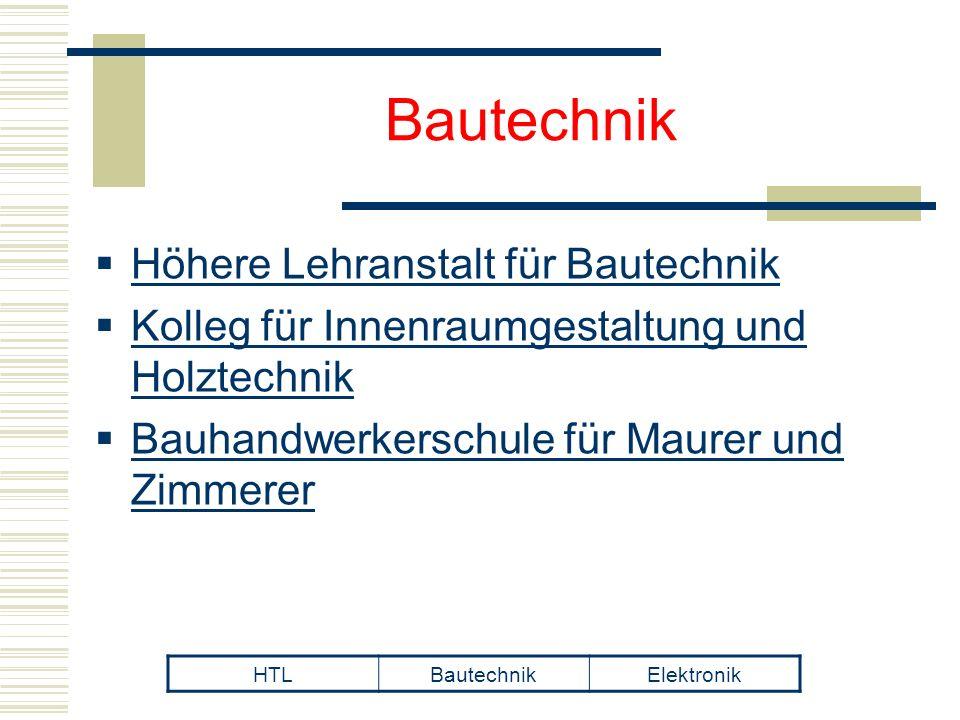 Bautechnik  Höhere Lehranstalt für Bautechnik  Kolleg für Innenraumgestaltung und Holztechnik  Bauhandwerkerschule für Maurer und Zimmerer HTLBautechnikElektronik