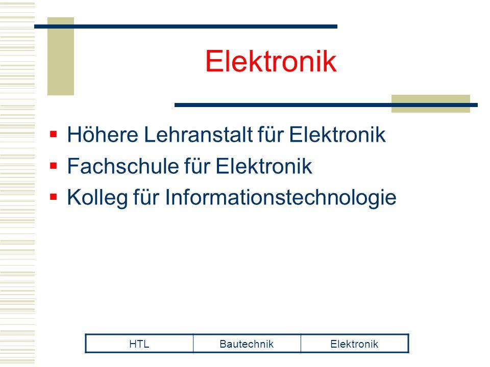  Höhere Lehranstalt für Elektronik  Fachschule für Elektronik  Kolleg für Informationstechnologie HTLBautechnikElektronik