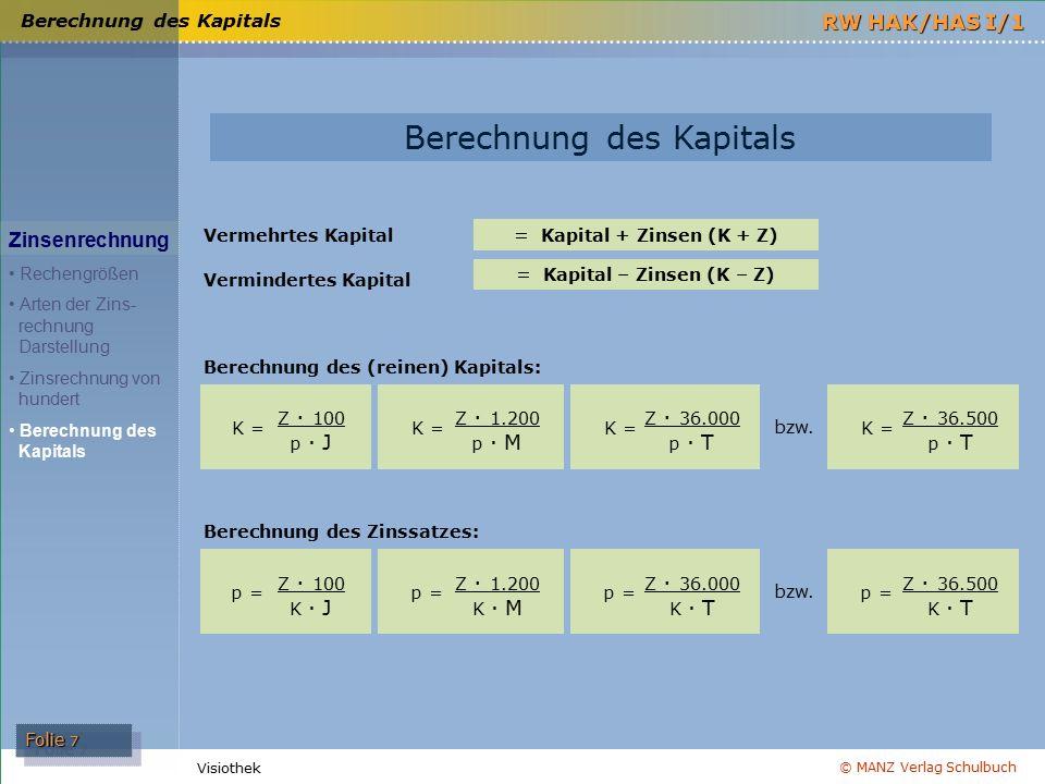 © MANZ Verlag Schulbuch Folie 7 RW HAK/HAS I/1 Visiothek Berechnung des Kapitals Zinsenrechnung Rechengrößen Arten der Zins- rechnung Darstellung Zins