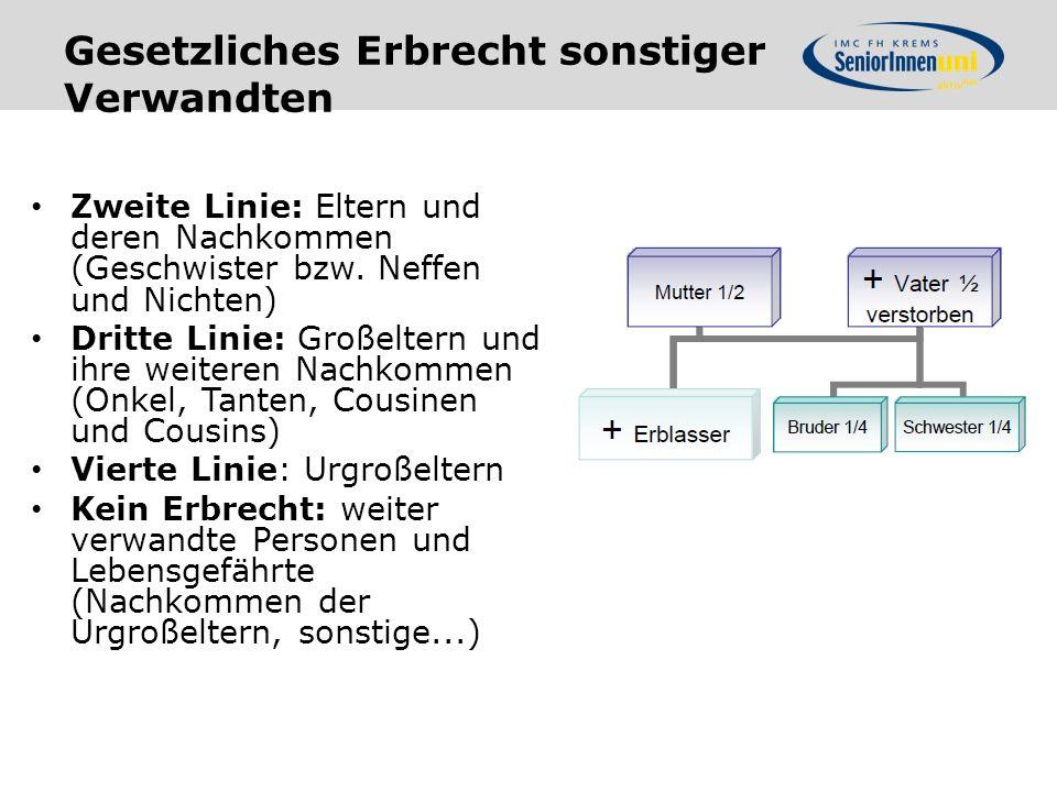 Gesetzliches Erbrecht sonstiger Verwandten Zweite Linie: Eltern und deren Nachkommen (Geschwister bzw.