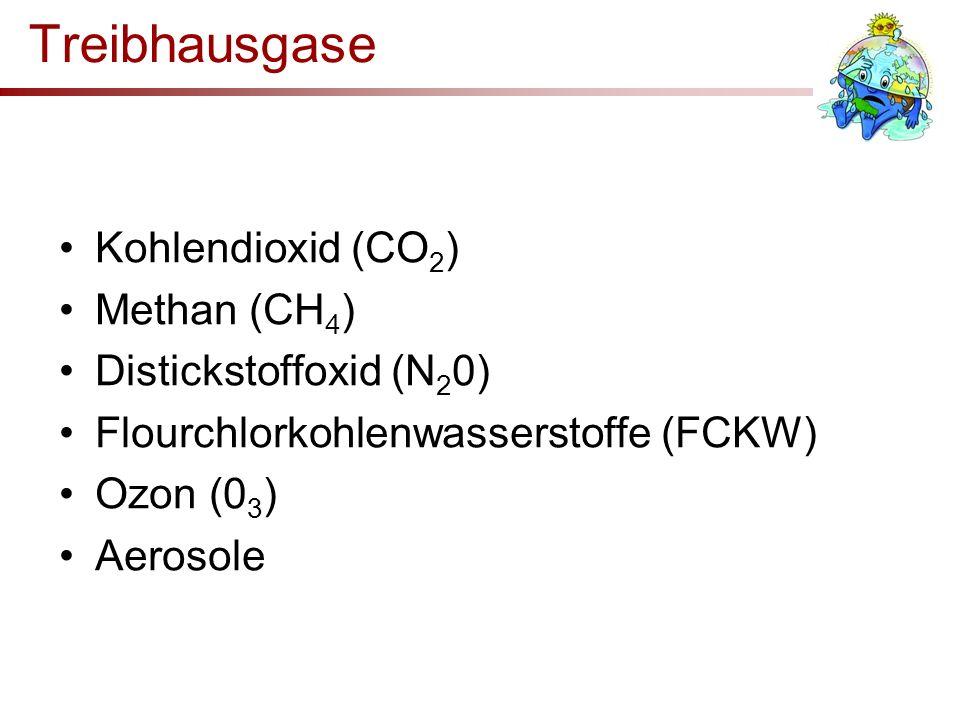 Treibhausgase Kohlendioxid (CO 2 ) Methan (CH 4 ) Distickstoffoxid (N 2 0) Flourchlorkohlenwasserstoffe (FCKW) Ozon (0 3 ) Aerosole