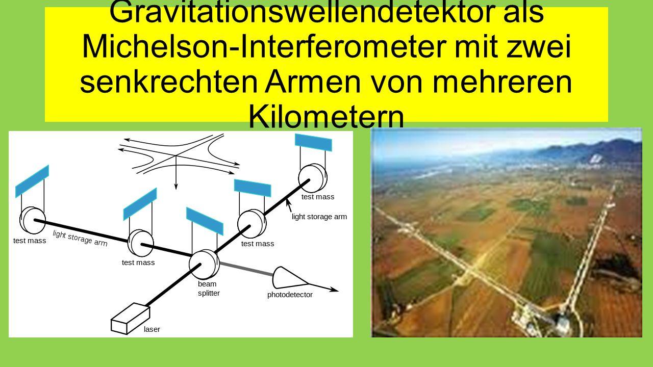 Gravitationswellendetektor als Michelson-Interferometer mit zwei senkrechten Armen von mehreren Kilometern