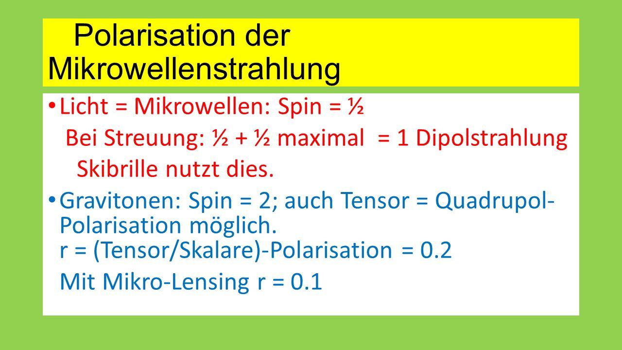 Polarisation der Mikrowellenstrahlung Licht = Mikrowellen: Spin = ½ Bei Streuung: ½ + ½ maximal = 1 Dipolstrahlung Skibrille nutzt dies. Gravitonen: S