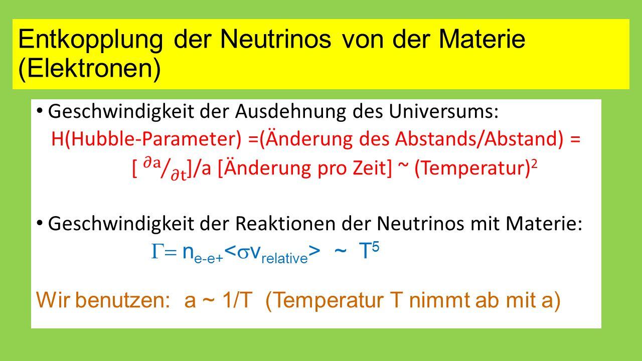 Entkopplung der Neutrinos von der Materie (Elektronen)