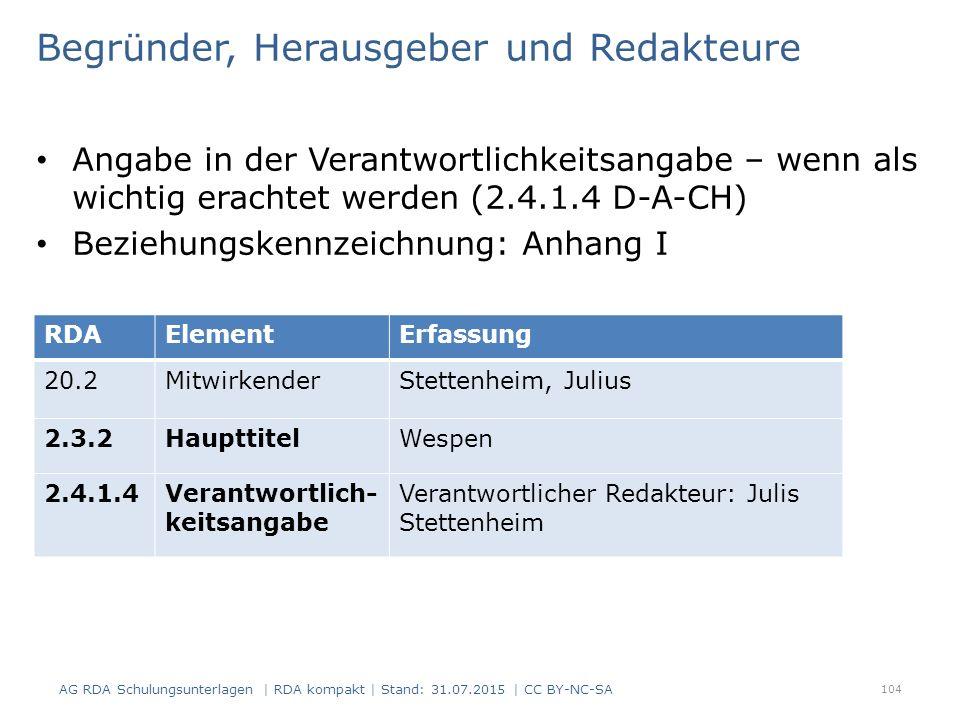 Begründer, Herausgeber und Redakteure Angabe in der Verantwortlichkeitsangabe – wenn als wichtig erachtet werden (2.4.1.4 D-A-CH) Beziehungskennzeichnung: Anhang I 104 RDAElementErfassung 20.2MitwirkenderStettenheim, Julius 2.3.2HaupttitelWespen 2.4.1.4Verantwortlich- keitsangabe Verantwortlicher Redakteur: Julis Stettenheim AG RDA Schulungsunterlagen | RDA kompakt | Stand: 31.07.2015 | CC BY-NC-SA